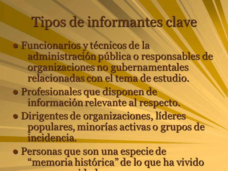 Tipos de informantes clave