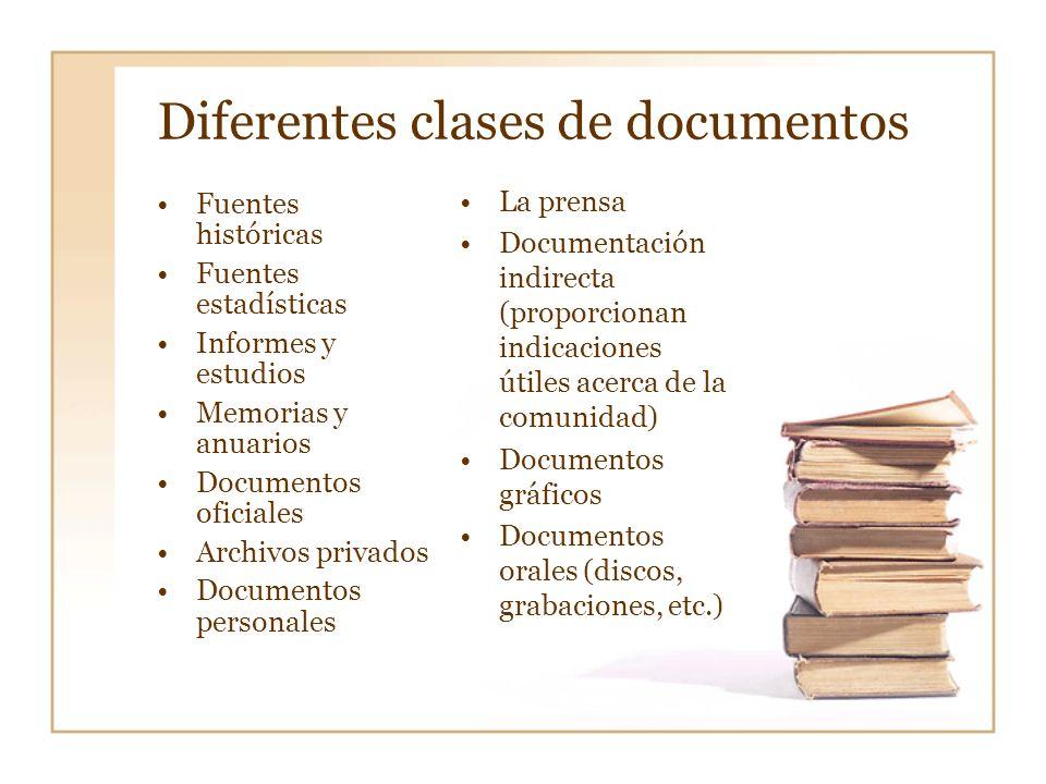 Diferentes clases de documentos
