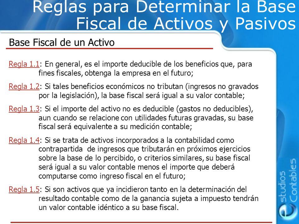 Reglas para Determinar la Base Fiscal de Activos y Pasivos