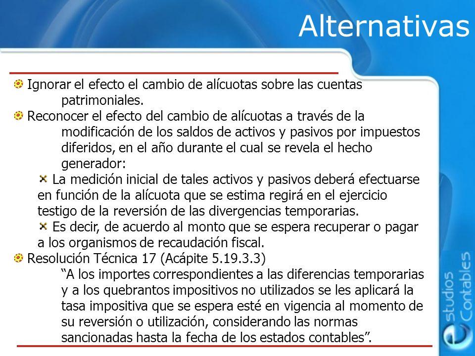 Alternativas Ignorar el efecto el cambio de alícuotas sobre las cuentas patrimoniales.