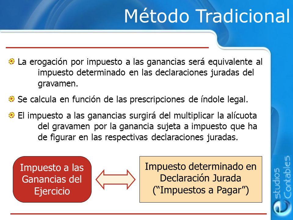Método Tradicional La erogación por impuesto a las ganancias será equivalente al impuesto determinado en las declaraciones juradas del gravamen.
