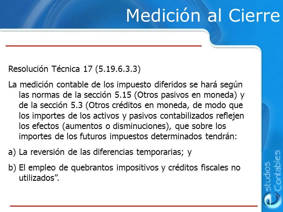Medición al Cierre Resolución Técnica 17 (5.19.6.3.3)