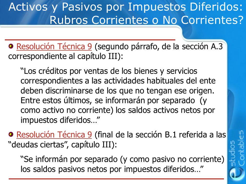 Activos y Pasivos por Impuestos Diferidos: Rubros Corrientes o No Corrientes