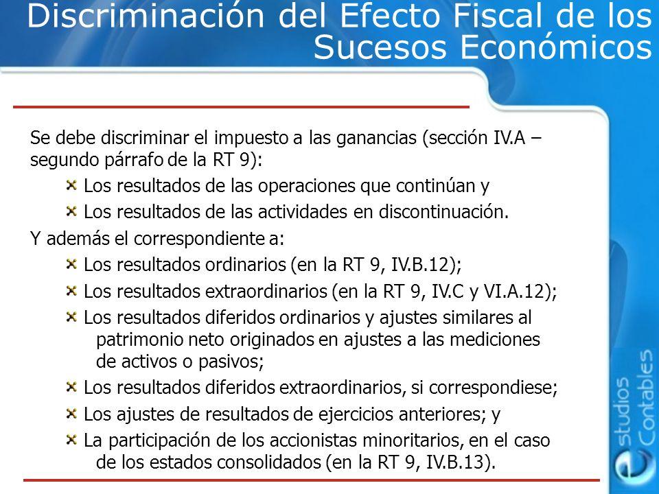 Discriminación del Efecto Fiscal de los Sucesos Económicos