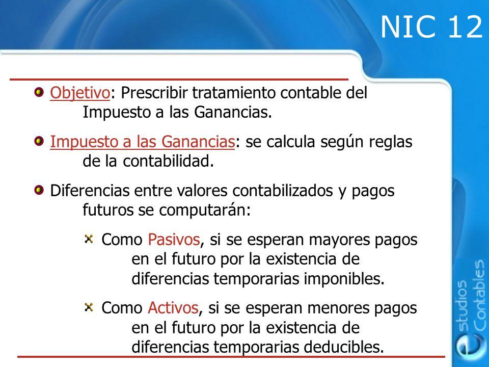NIC 12 Objetivo: Prescribir tratamiento contable del Impuesto a las Ganancias.