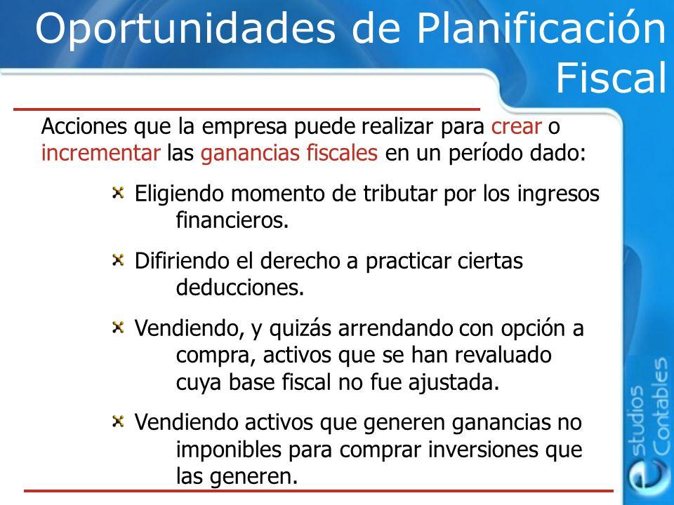 Oportunidades de Planificación Fiscal