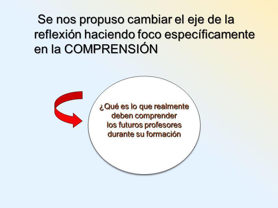 Se nos propuso cambiar el eje de la reflexión haciendo foco específicamente en la COMPRENSIÓN