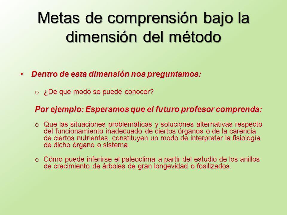 Metas de comprensión bajo la dimensión del método