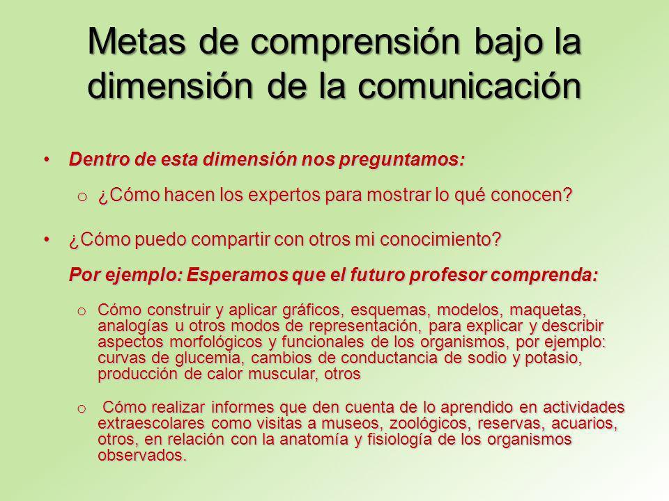 Metas de comprensión bajo la dimensión de la comunicación