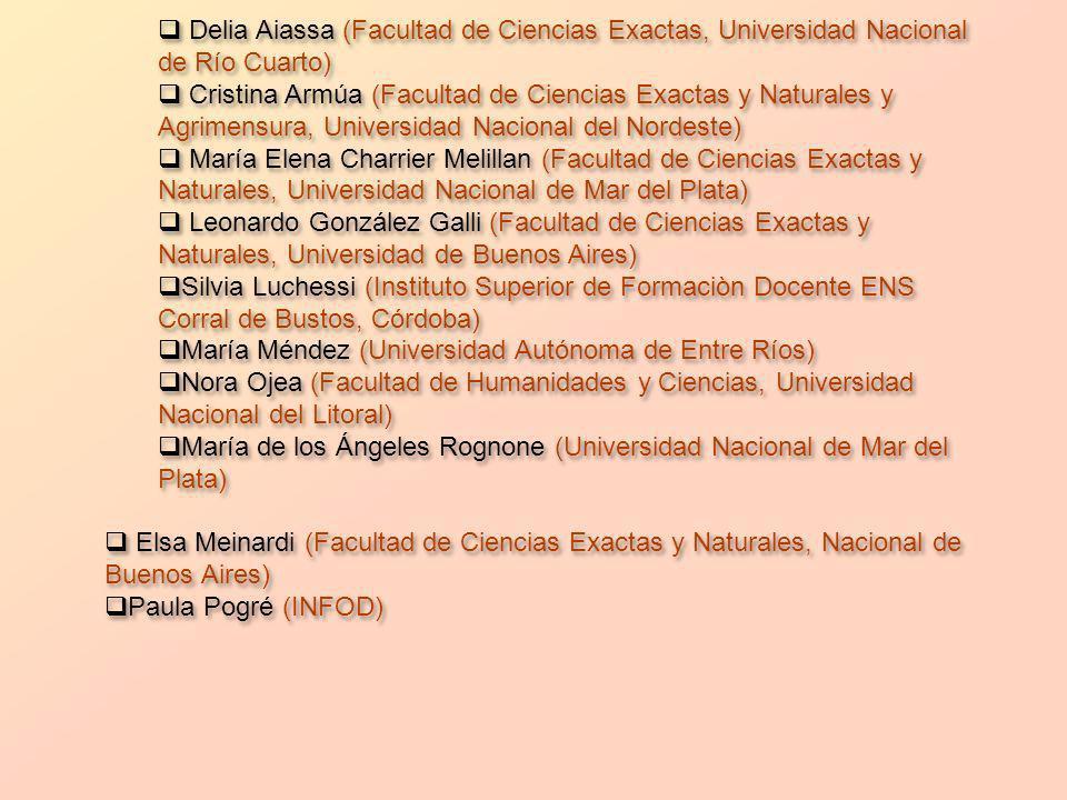 Delia Aiassa (Facultad de Ciencias Exactas, Universidad Nacional de Río Cuarto)