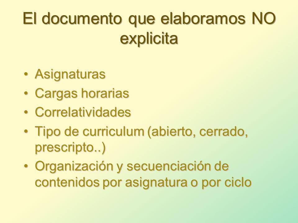El documento que elaboramos NO explicita
