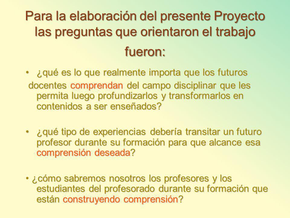 Para la elaboración del presente Proyecto las preguntas que orientaron el trabajo fueron: