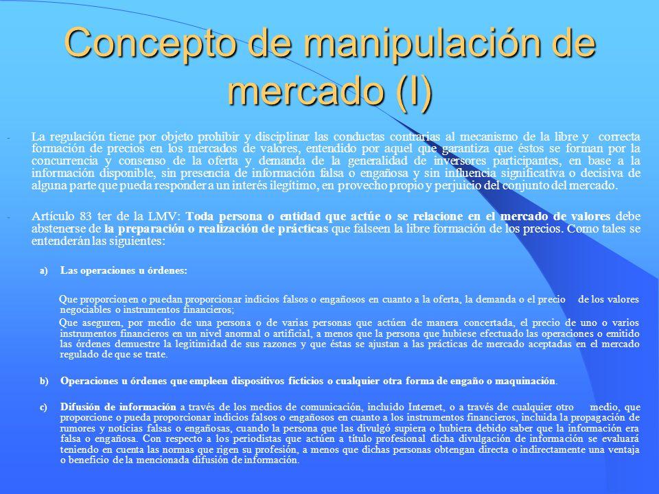 Concepto de manipulación de mercado (I)