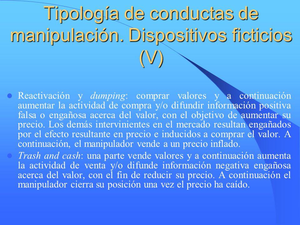 Tipología de conductas de manipulación. Dispositivos ficticios (V)