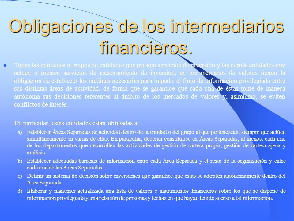 Obligaciones de los intermediarios financieros.