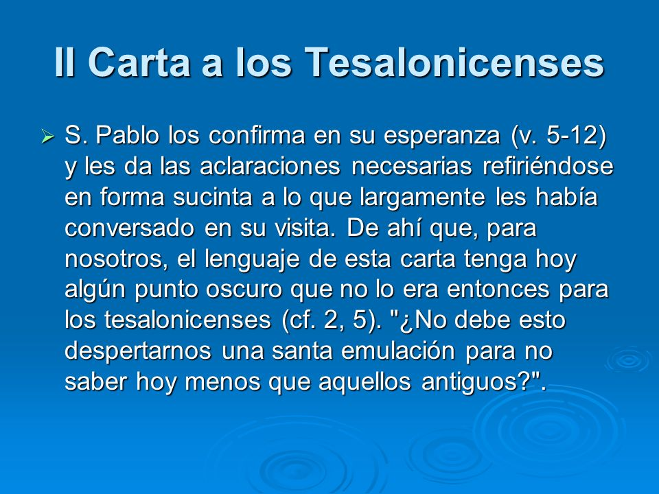 II Carta a los Tesalonicenses