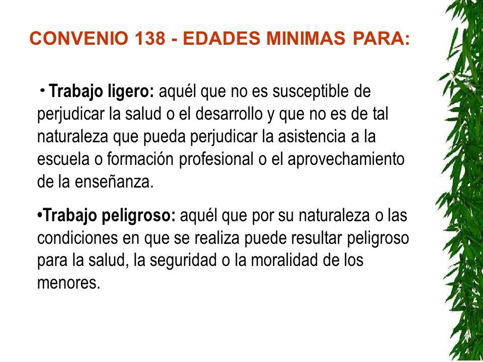 CONVENIO 138 - EDADES MINIMAS PARA: