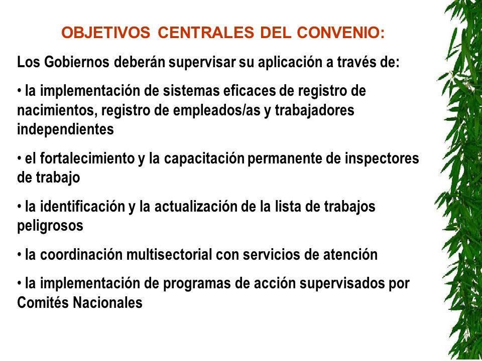 OBJETIVOS CENTRALES DEL CONVENIO: