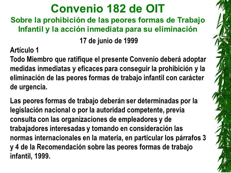 Convenio 182 de OIT Sobre la prohibición de las peores formas de Trabajo Infantil y la acción inmediata para su eliminación 99.