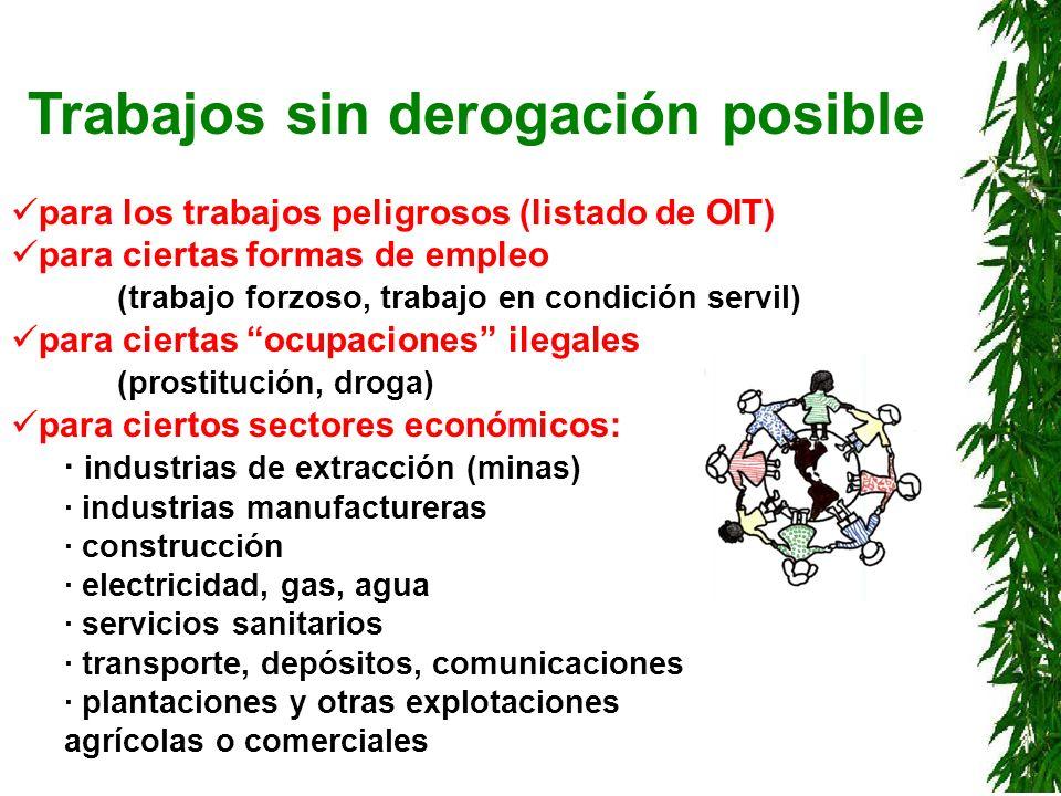 Trabajos sin derogación posible