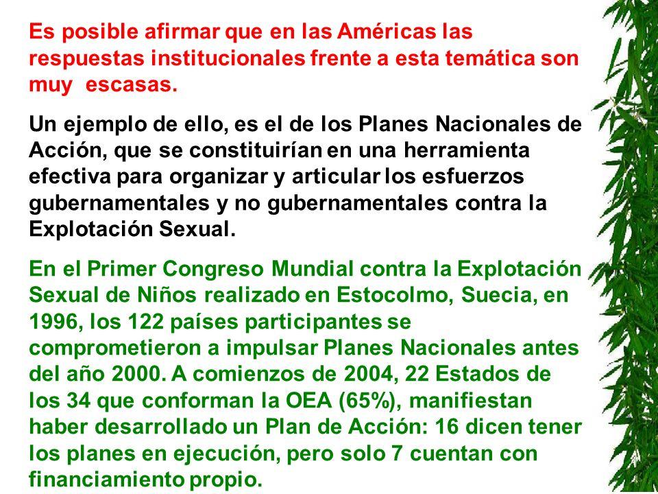 Es posible afirmar que en las Américas las respuestas institucionales frente a esta temática son muy escasas.
