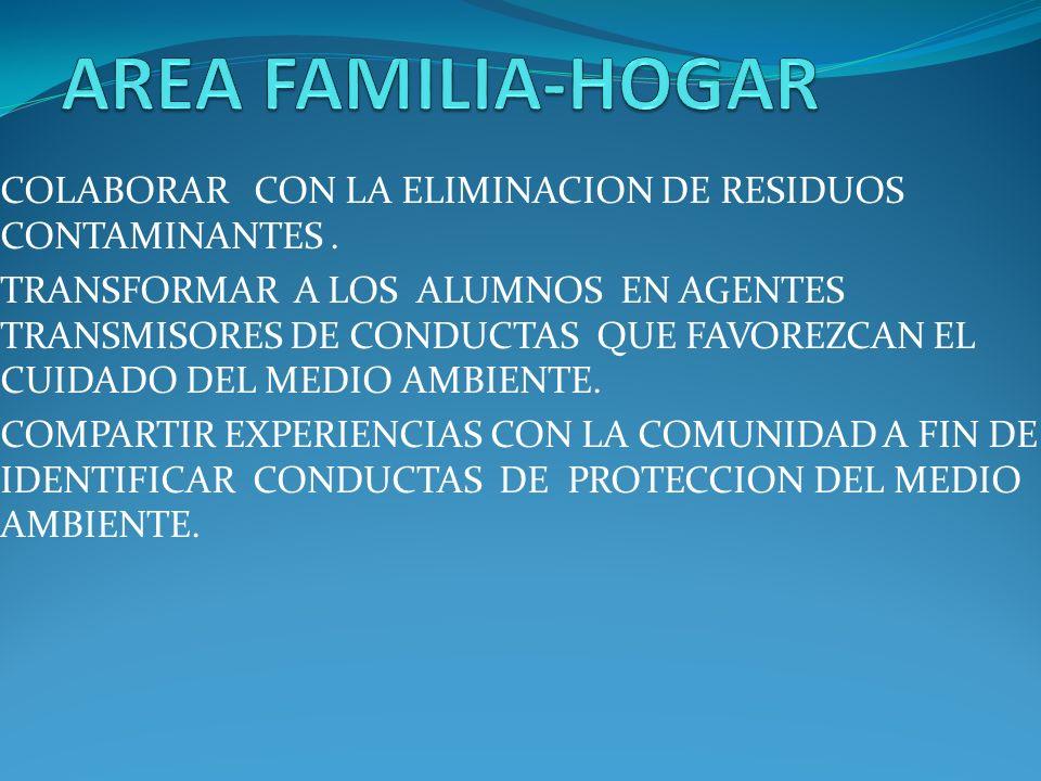 AREA FAMILIA-HOGAR COLABORAR CON LA ELIMINACION DE RESIDUOS CONTAMINANTES .