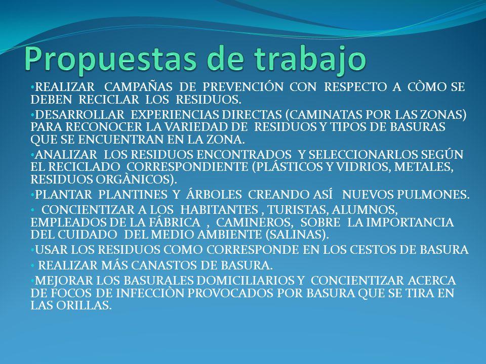 Propuestas de trabajo REALIZAR CAMPAÑAS DE PREVENCIÓN CON RESPECTO A CÒMO SE DEBEN RECICLAR LOS RESIDUOS.
