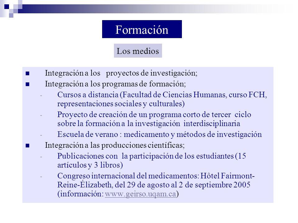 Formación Los medios Integración a los proyectos de investigación;