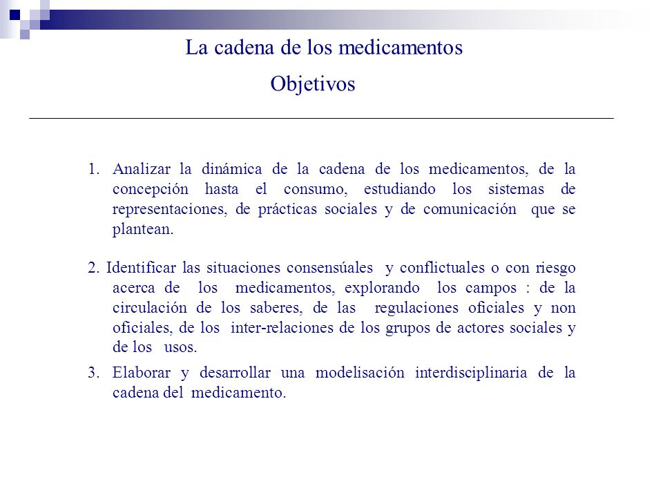 La cadena de los medicamentos