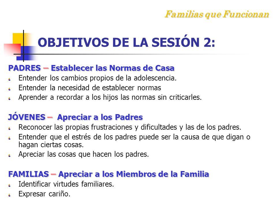 Familias que Funcionan OBJETIVOS DE LA SESIÓN 2: