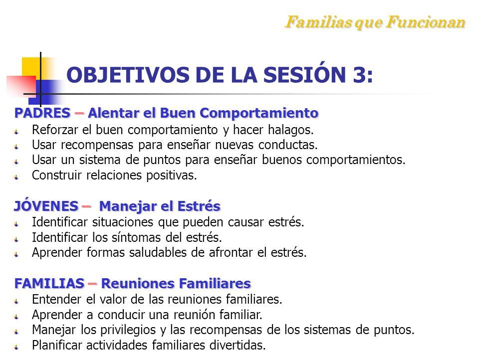 Familias que Funcionan OBJETIVOS DE LA SESIÓN 3: