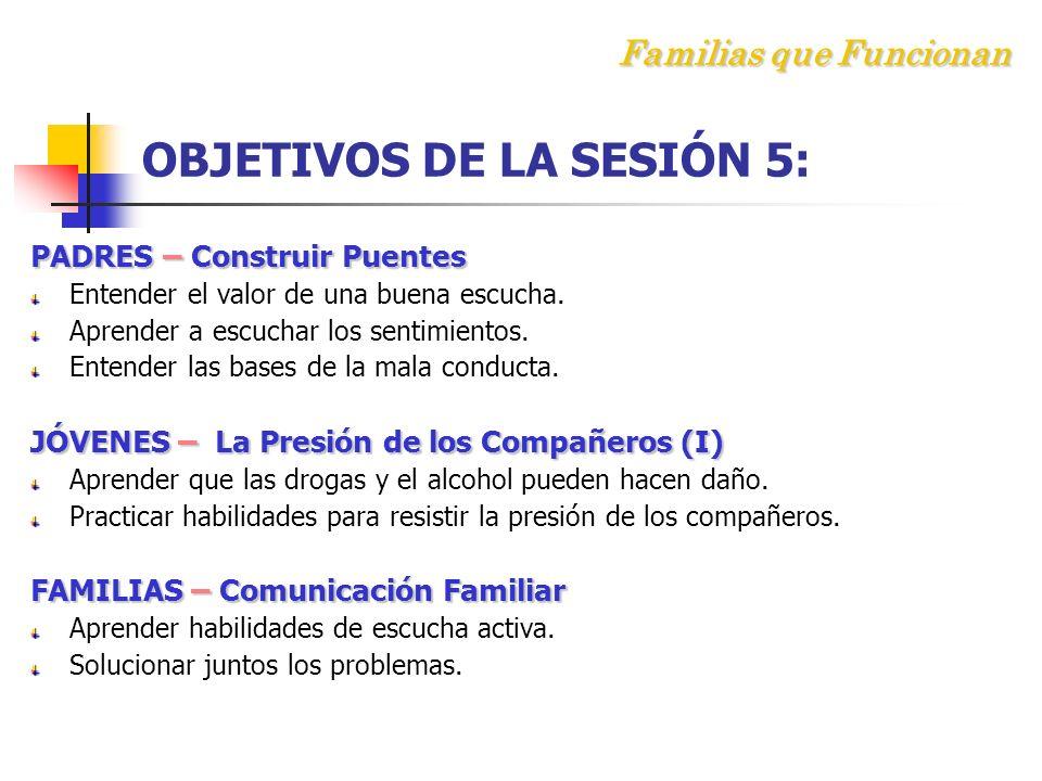 Familias que Funcionan OBJETIVOS DE LA SESIÓN 5: