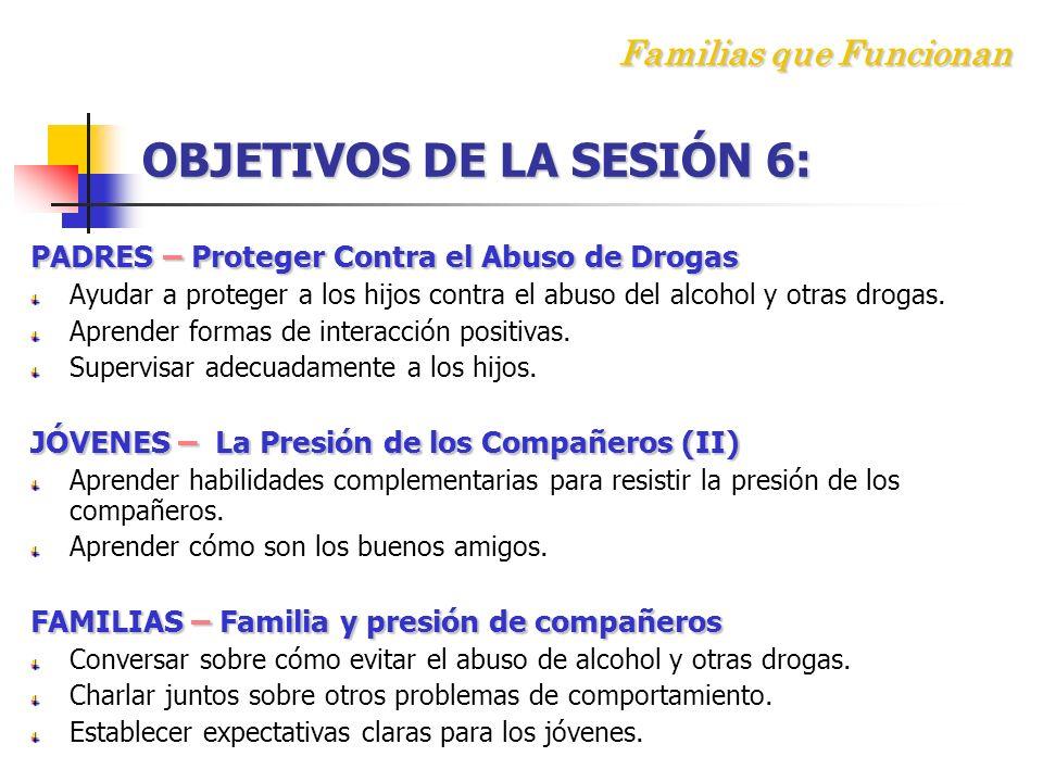 Familias que Funcionan OBJETIVOS DE LA SESIÓN 6:
