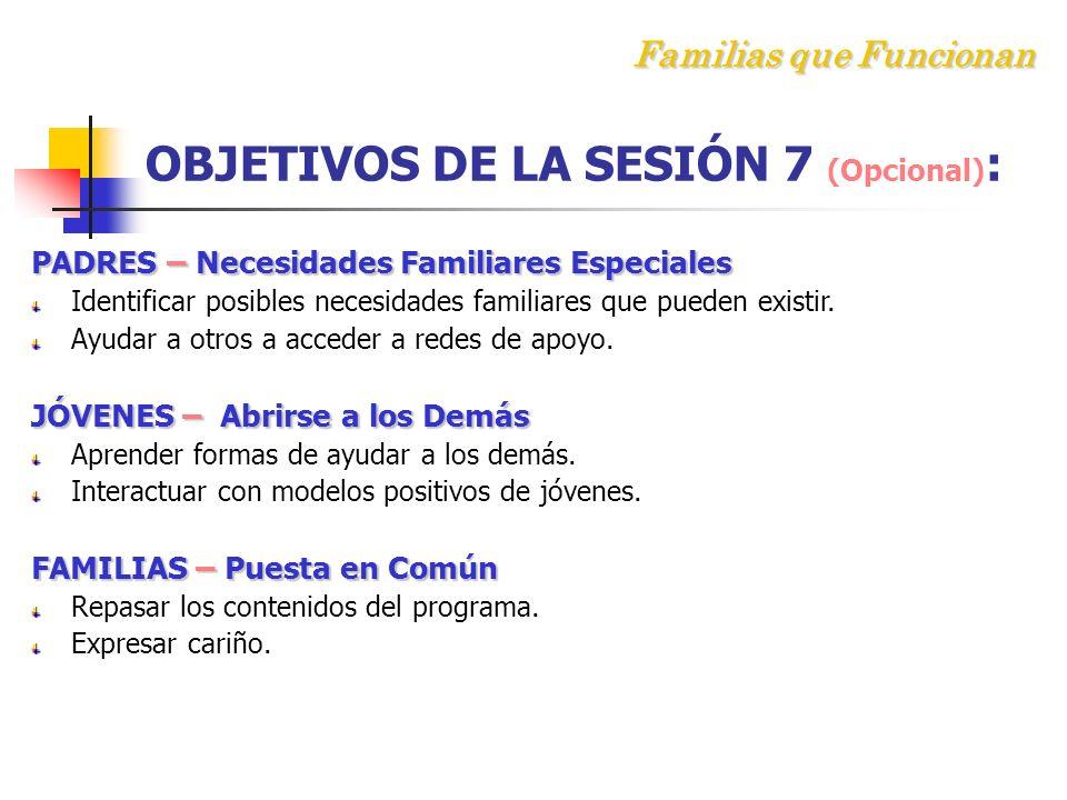 Familias que Funcionan OBJETIVOS DE LA SESIÓN 7 (Opcional):