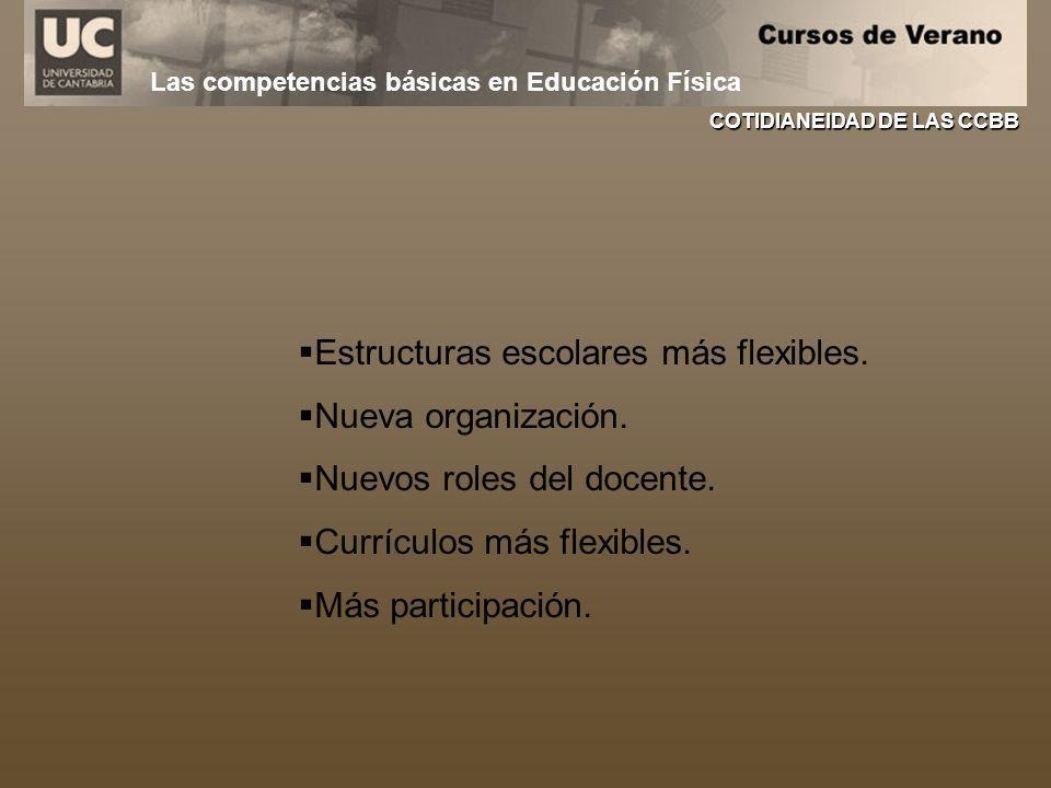 Estructuras escolares más flexibles. Nueva organización.