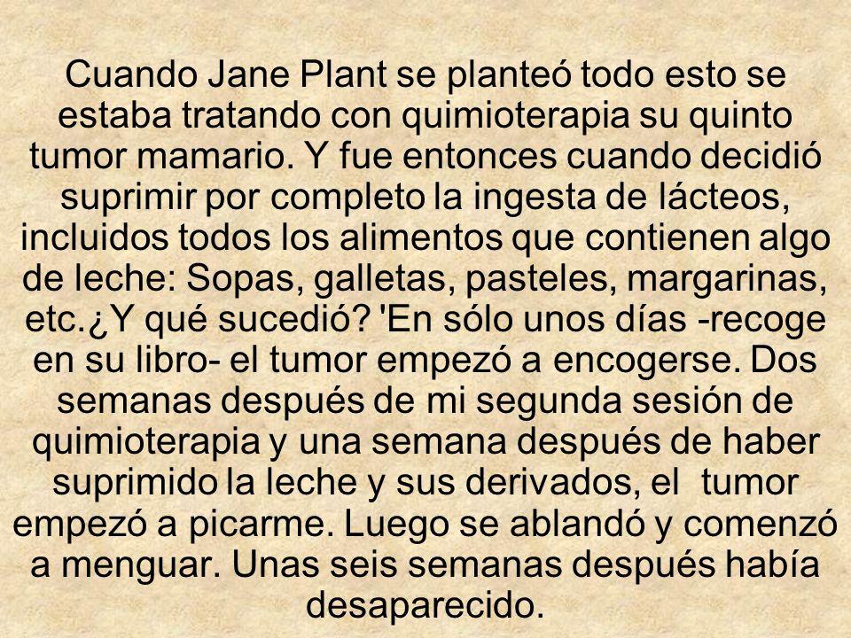 Cuando Jane Plant se planteó todo esto se estaba tratando con quimioterapia su quinto tumor mamario.