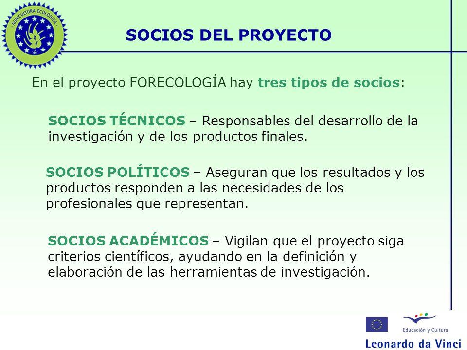 SOCIOS DEL PROYECTO En el proyecto FORECOLOGÍA hay tres tipos de socios: