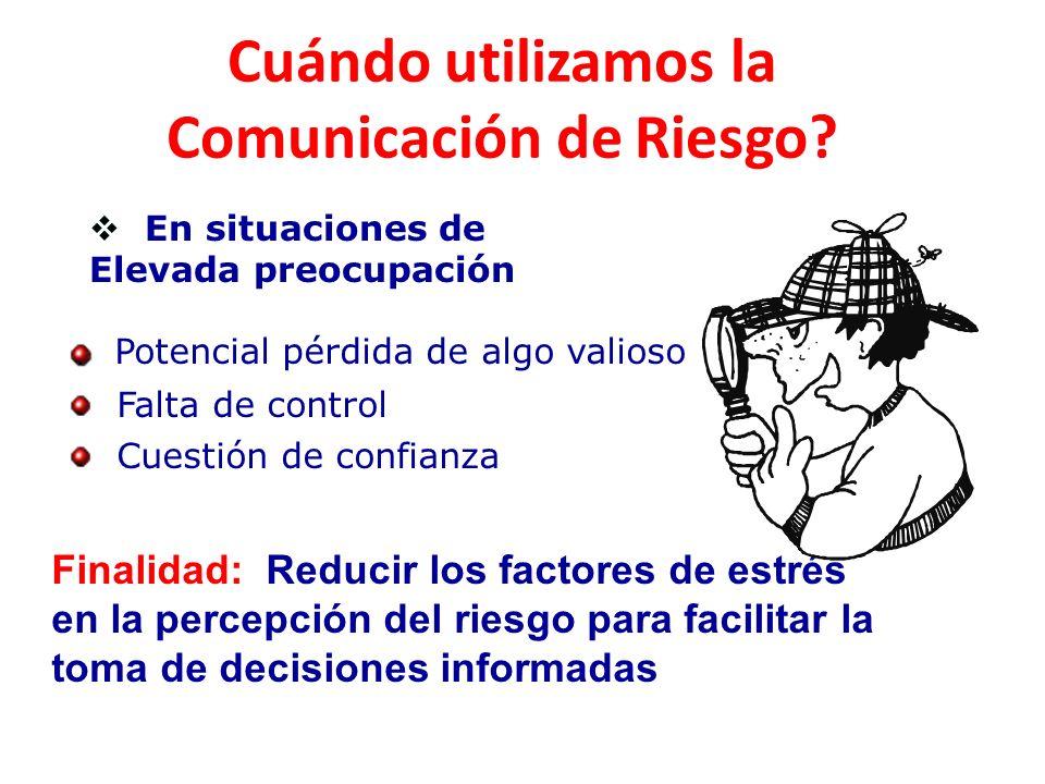 Cuándo utilizamos la Comunicación de Riesgo