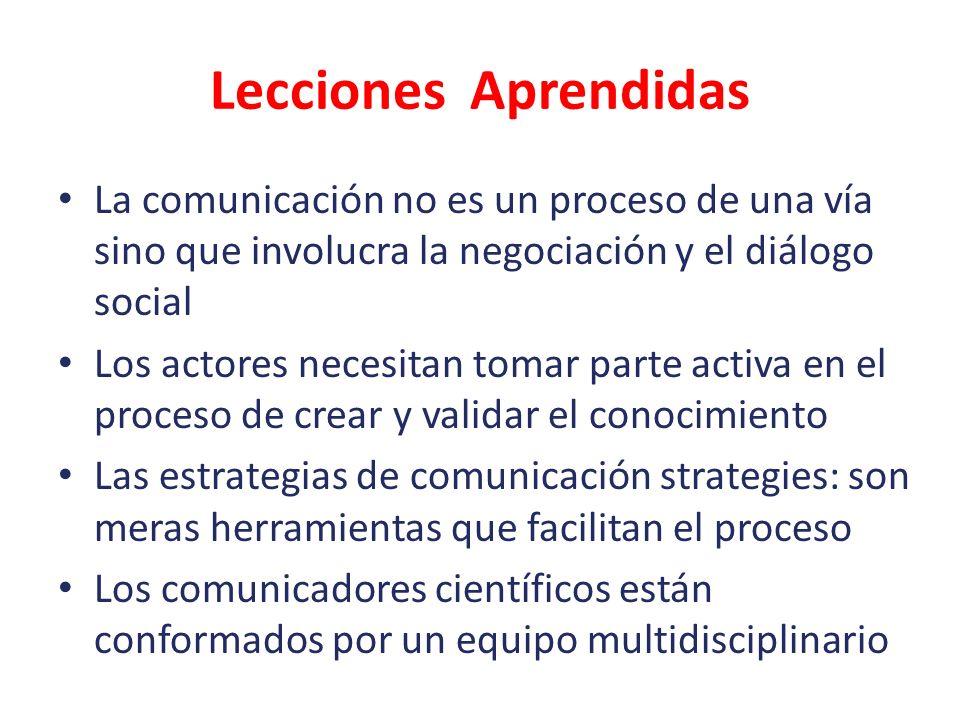 Lecciones Aprendidas La comunicación no es un proceso de una vía sino que involucra la negociación y el diálogo social.