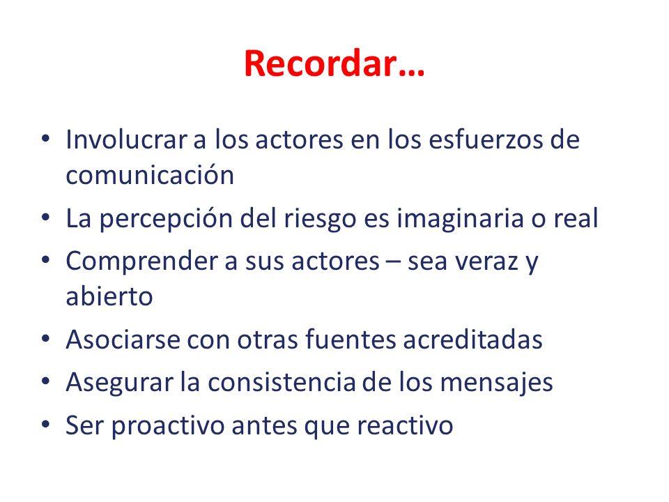Recordar… Involucrar a los actores en los esfuerzos de comunicación
