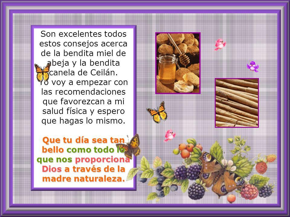 Son excelentes todos estos consejos acerca de la bendita miel de abeja y la bendita canela de Ceilán.