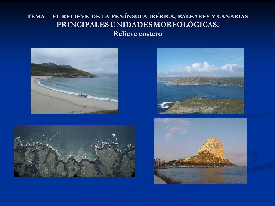 TEMA 1 EL RELIEVE DE LA PENÍNSULA IBÉRICA, BALEARES Y CANARIAS PRINCIPALES UNIDADES MORFOLÓGICAS.