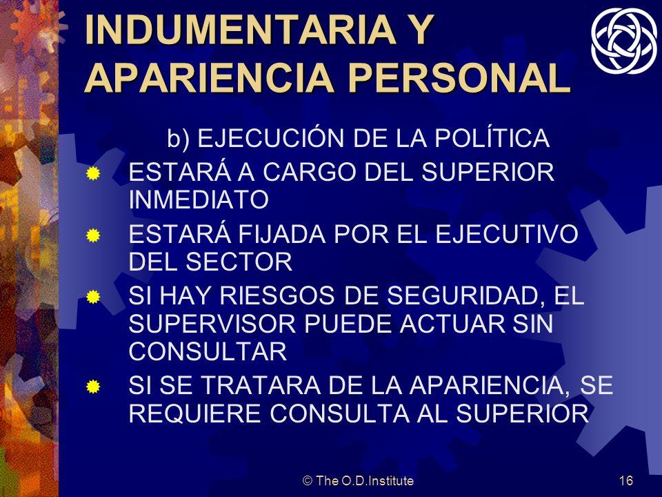 INDUMENTARIA Y APARIENCIA PERSONAL