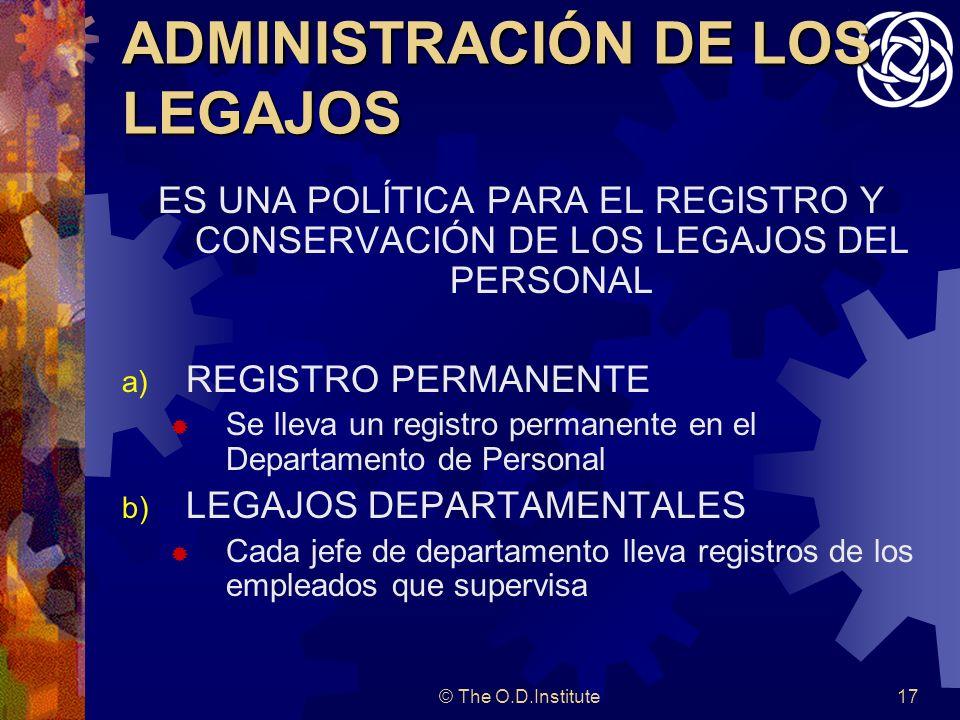 ADMINISTRACIÓN DE LOS LEGAJOS