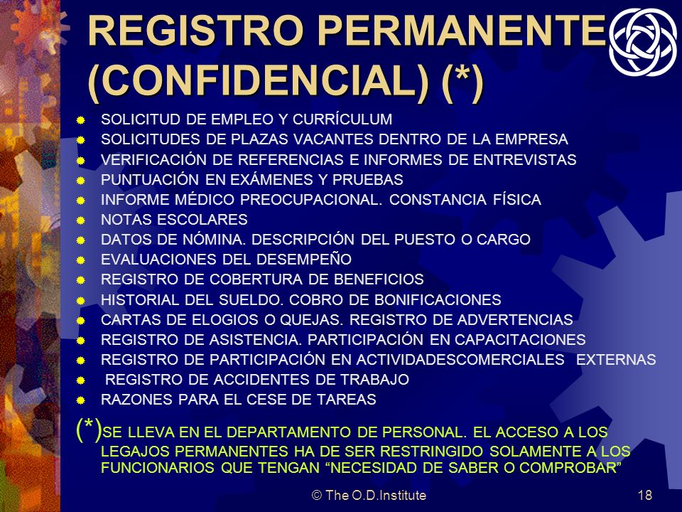 REGISTRO PERMANENTE (CONFIDENCIAL) (*)