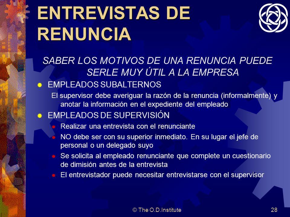 ENTREVISTAS DE RENUNCIA