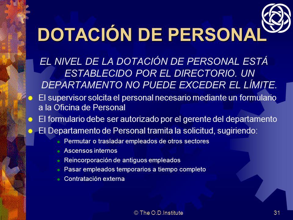 DOTACIÓN DE PERSONAL EL NIVEL DE LA DOTACIÓN DE PERSONAL ESTÁ ESTABLECIDO POR EL DIRECTORIO. UN DEPARTAMENTO NO PUEDE EXCEDER EL LÍMITE.