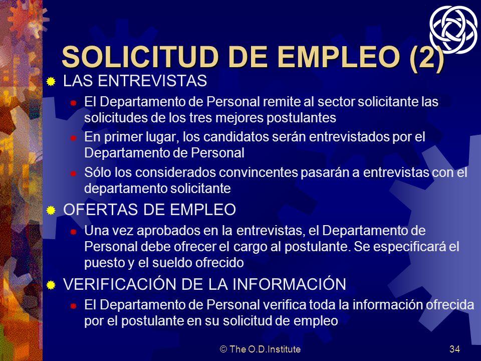 SOLICITUD DE EMPLEO (2) LAS ENTREVISTAS OFERTAS DE EMPLEO