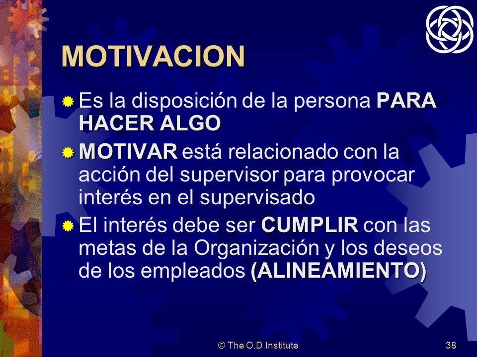 MOTIVACION Es la disposición de la persona PARA HACER ALGO