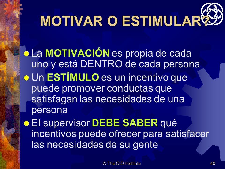 MOTIVAR O ESTIMULAR La MOTIVACIÓN es propia de cada uno y está DENTRO de cada persona.